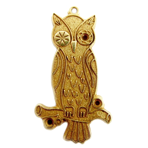 Winking owl, classic gold, antique gold, owl, brass birds, birds, 33 x19mm, pendent, charm, brass stamping, arts and crafts, brass owl, us made, nickel free, B'sue Boutiques, jewelry making, jewelry findings, vintage supplies, jewelry supplies, 05015