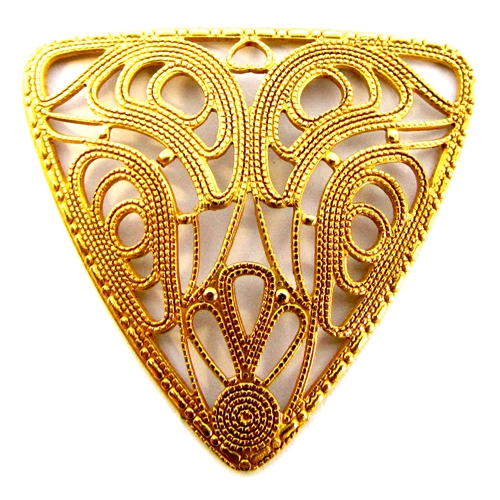 triangular filigree, classic gold plated, brass, gold, gold plated, classic gold, filigree, triangular, collar filigree, 37x40mm, us made, nickel free, B'sue Boutiques, jewelry making, vintage supplies, jewelry supplies, cagework, filigree stamping, 05035