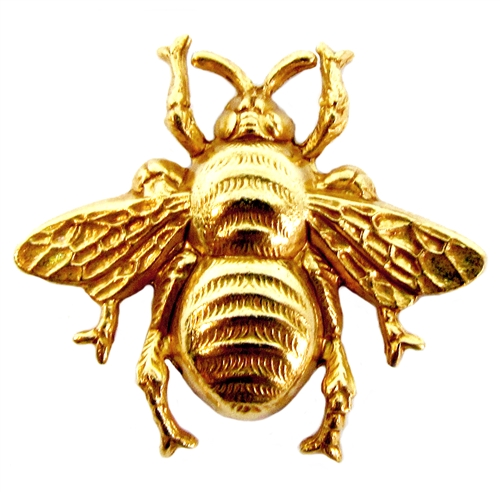 big bumble bee, classic gold plated, brass, gold, bee stamping, bee, insect, vintage style, gold plated, classic gold, stamping, us made, nickel free, B'sue Boutiques, 28x31mm, 22 karat gold plated, brass, jewelry supplies, vintage supplies, 05036