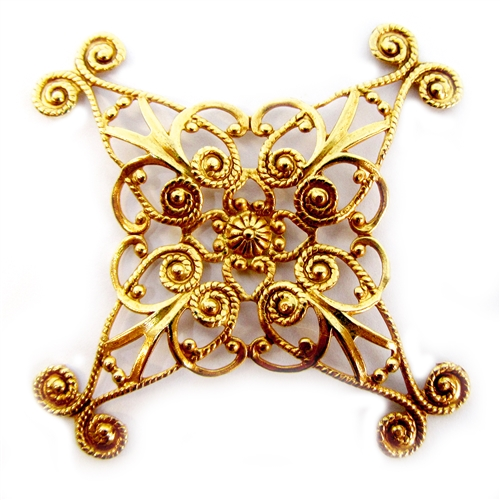 brass filigree, x shape, beading filigree, 05039, classic Gold plate, jewelry making, jewelry wrap, jewelry supplies, brass jewelry parts, vintage jewelry supplies, beading supplies, antique gold,