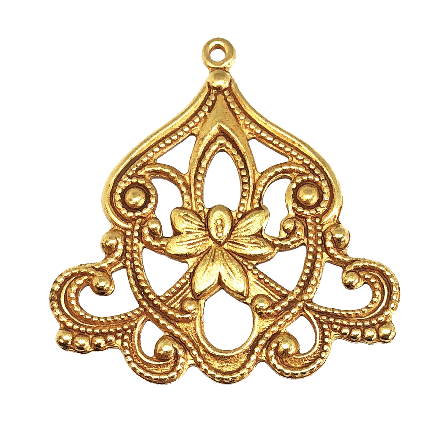 brass floral pendant, classic gold, 05774, vintage jewelry supplies, jewelry making supplies, nickel free, US made, Bsue Boutiques, filigree pendants, antique gold, Victorian style pendant