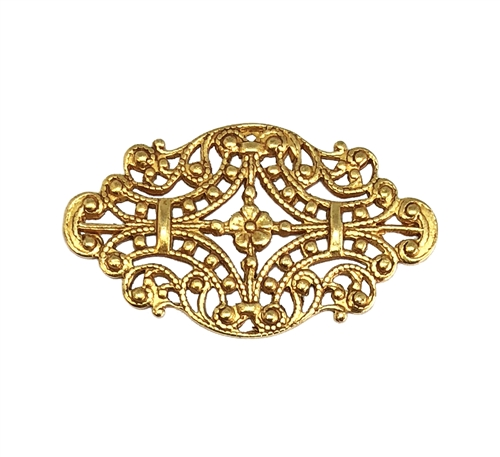 Brass Filigree, Filigree Connector, Classic Gold, 05777, antique gold, beading filigree, vintage style filigree, Victorian style filigree, US made, nickel free, Bsue Boutiques, vintage jewelry supplies, jewelry making supplies