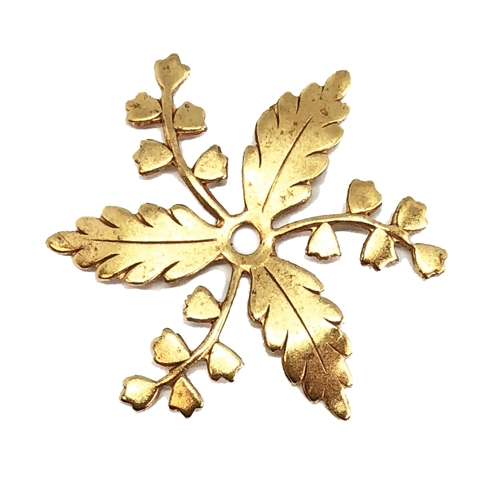 brass flowers, brass leaves, drilled leaves, 05782, floral pinwheel, jewelry making supplies, B'sue Boutiques, US made, jewelry supplies, nickel free jewelry supplies, drilled flowers, leaf jewelry supplies, classic gold, antique gold