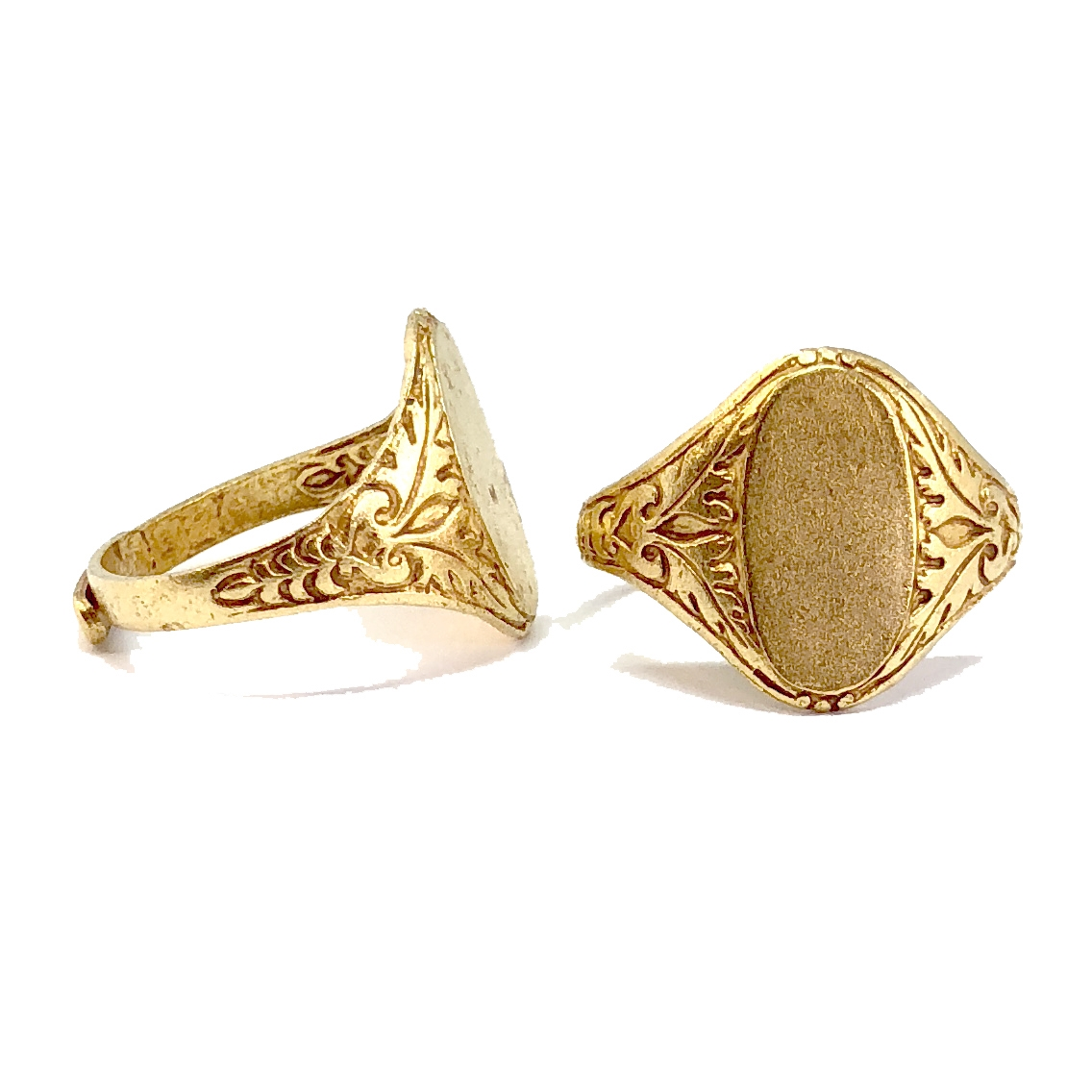 brass jewelry rings, signature rings, 05784, classic gold, antique gold, black antiquing, vintage jewellery supplies, jewelry making supplies, US made jewelry supplies, nickel free jewelry supplies, jewelry findings