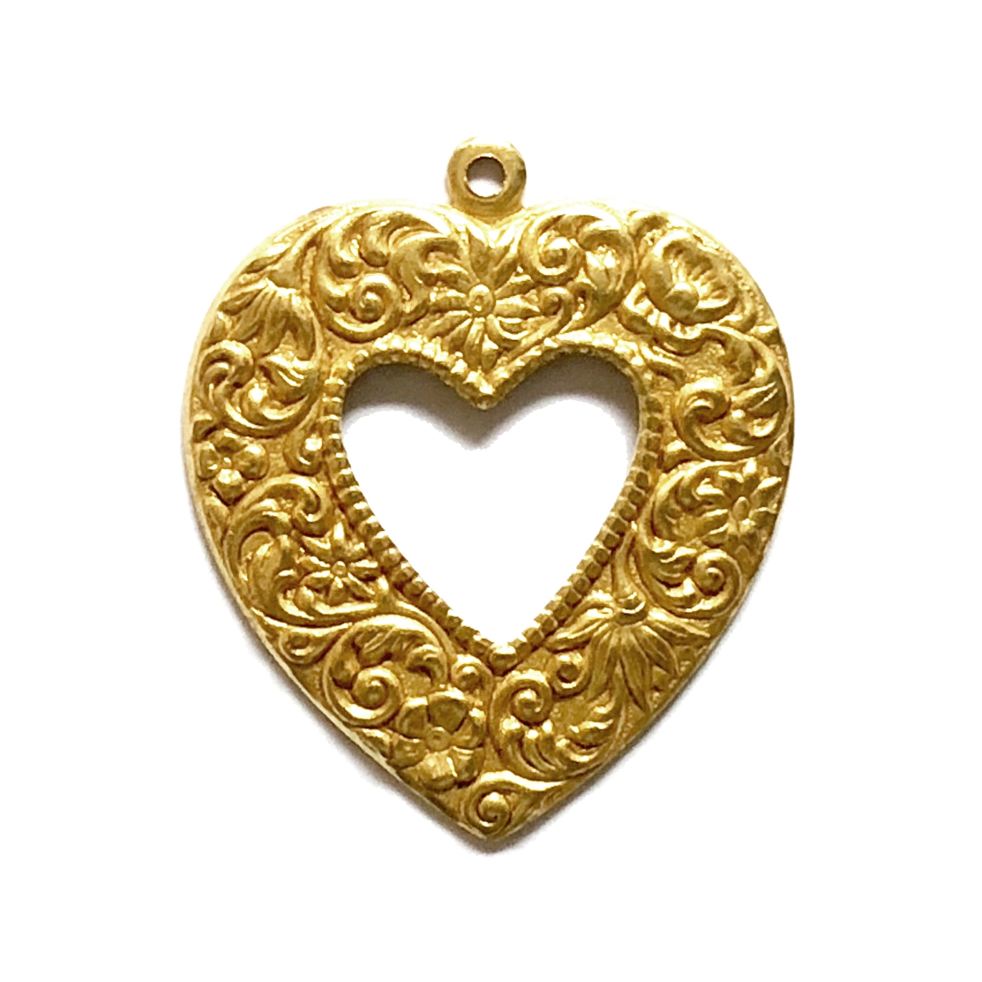 brass hearts, heart charms, classic gold, 08460, B'sue Boutiques, nickel free, US made, jewelry making, jewelry supplies, vintage jewelry supplies, open heart stamping, heart pendants, floral heart charms