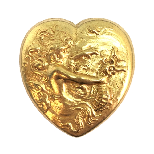 mermaid on seahorse, mermaid, classic gold, heart stamping, heart, seahorse, 39x38mm, gold, us made, nickel free, B'sue Boutiques, jewelry making, vintage supplies, jewelry supplies, jewelry findings, 08469, sea life, ocean, beach, seahorse, sea
