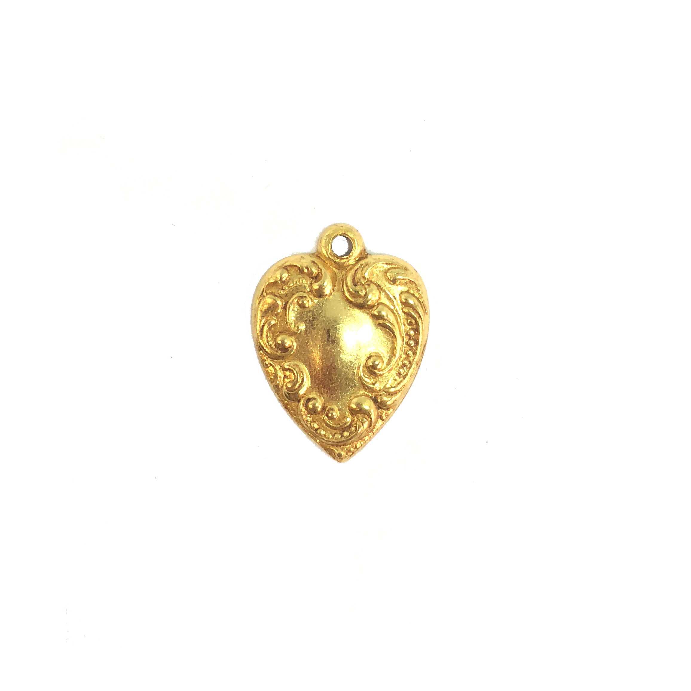 small heart charm, classic gold, hearts, brass stamping, charm, pendant, floral design, 28x24mm, heart charm, us made, gold, classic gold, brass, gold plated, floral, nickel free, B'sue Boutiques, vintage supplies, leafy heart, 08472