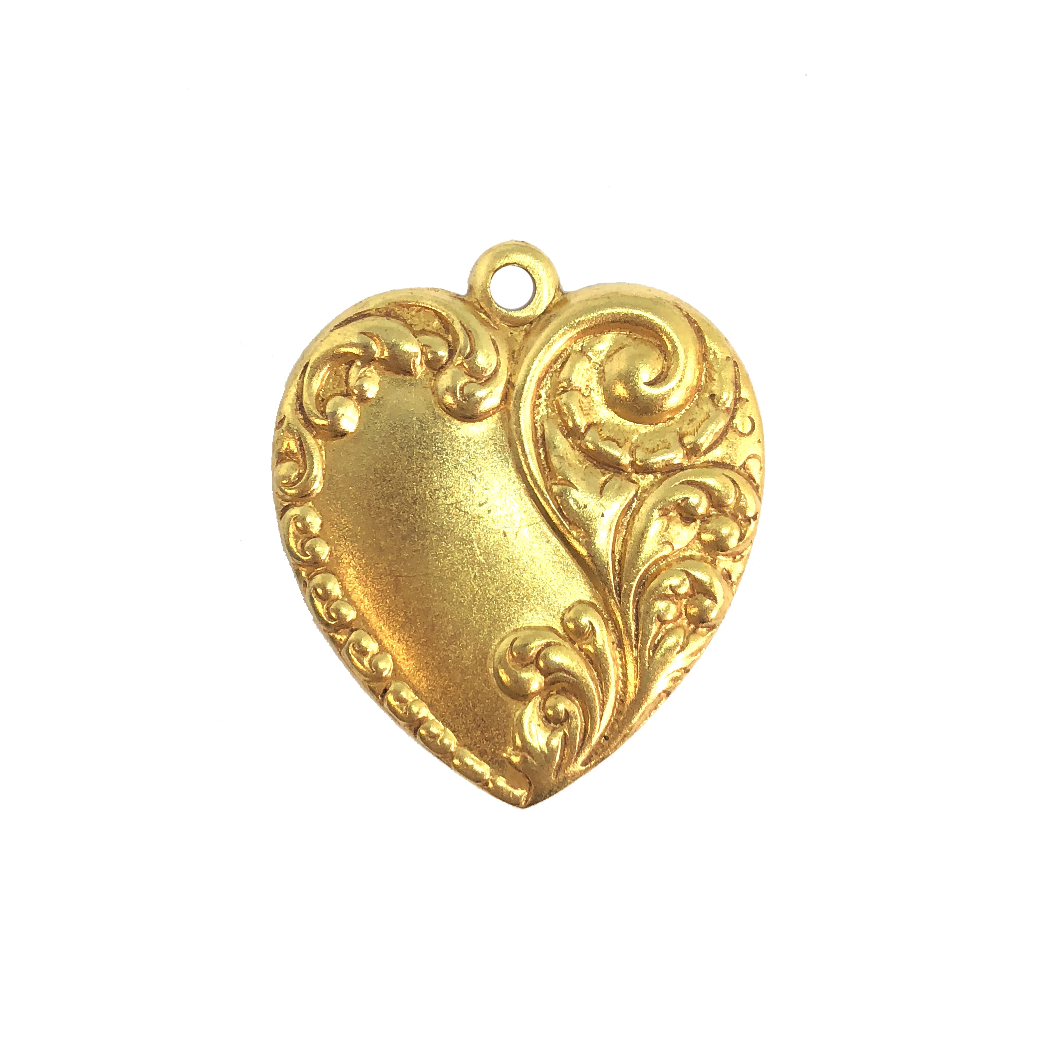 floral charm, classic gold plated, hearts, brass stamping, charm, pendant, floral design, 28x24mm, heart charm, us made, gold, classic gold, brass, gold plated, floral, nickel free, B'sue Boutiques, vintage supplies, leafy heart, 08473, leaf design
