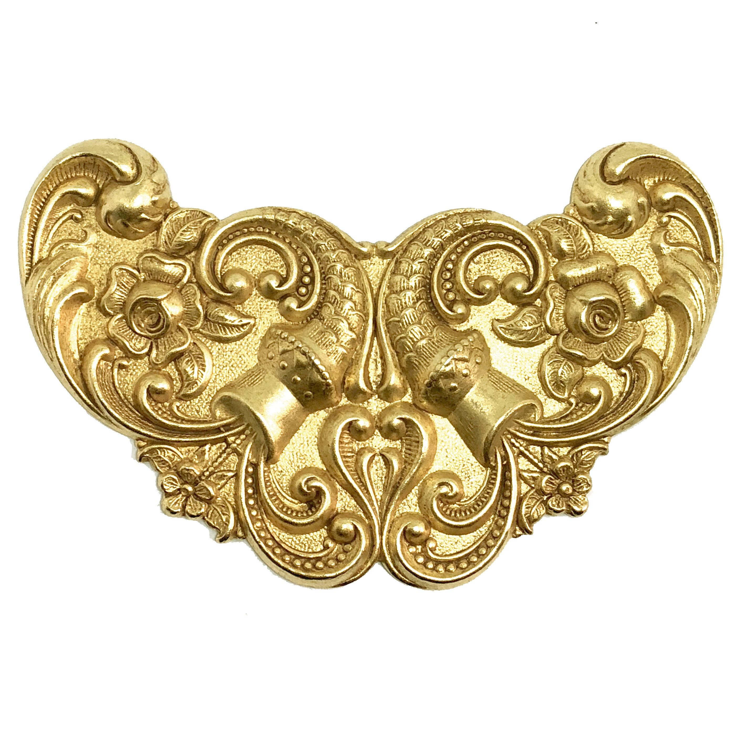 Victorian brass stampings, vintage jewelry supplies, 08475, cornucopia, classic gold, winged plaque, winged stamping, floral stamping, US made, nickel free, bsueboutiques, brass jewelry parts, brass stampings, centerpiece, plaque