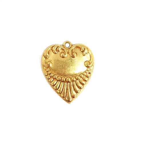 ribbed design heart, classic gold, heart, charm, ribbon, cinnamon accents, pendent, brass heart, heart charms, 21 x18mm, us made, nickel free, jewelry making, jewelry findings, vintage supplies, jewelry supplies, antique gold hearts, 08478