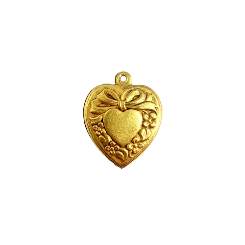 heart charm, puffy heart, 08497, heart pendant, charm, pendant, classic gold, gold, heart, gold plate, B'sue Boutiques, jewelry supplies, vintage jewelry supplies, double sided