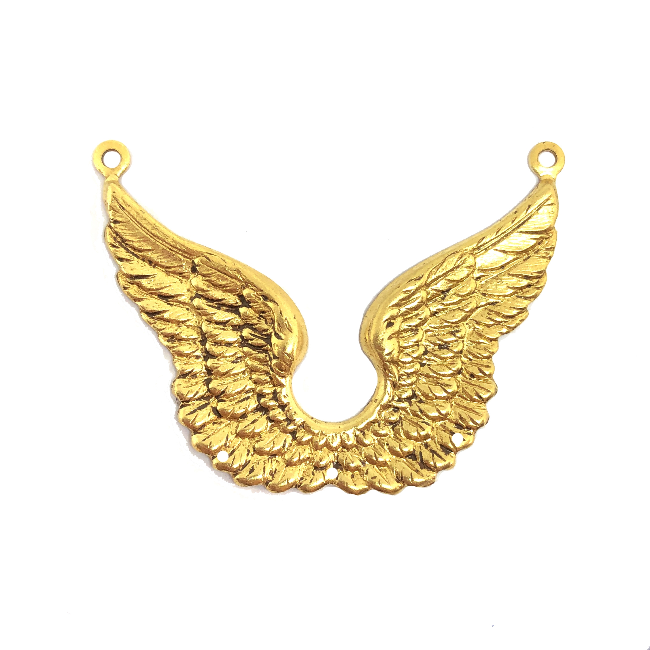 brass wings, wing connectors, plated brass, 09742, double wings, classic gold, vintage jewelry supplies, brass jewelry parts, jewelry making supplies, US made, nickel free, B'sue Boutiques, wings
