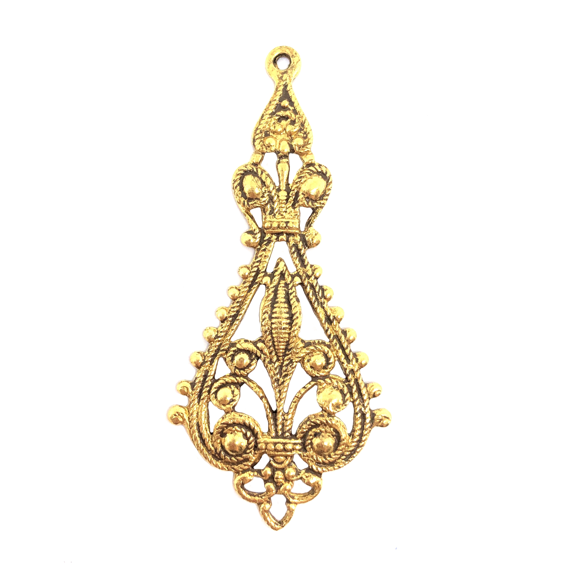 brass filigree, classic gold, ear drops, plated brass, 55 x 25mm, 09743, earrings, pendant, filigree pendant, ear drop, drop, filigree earrings, jewelry supplies, B'sue Boutiques