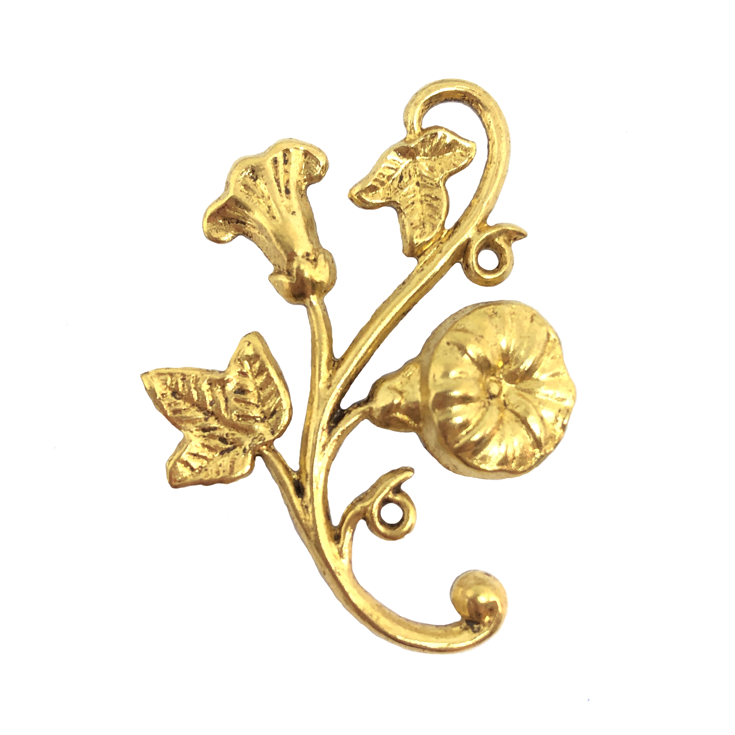 brass floral leaf sprig, floral stem, classic gold, 09748, jewelry making supplies, vintage jewelry supplies, brass flowers, brass leaves, US made, nickel free jewelry supplies, b'sue boutiques, plated brass, flowers, leaves
