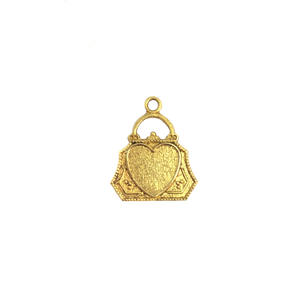 Little purse charm with heart, heavy brass, US Made, vintage style, flat on the back, nicely weighted, classic gold, nickel free, Top hanging, 15x14mm, plated brass, purse, charm, 09750