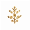floral sprig, classic gold, brass, B'sue Boutiques, nickel free, US made, jewelry supplies, vintage supplies, flower stem, flower sprig, flower, stem, jewelry making, jewelry findings, sprig, antique gold, 30x24mm, 09755