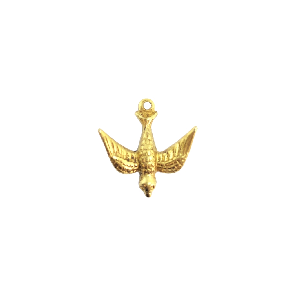 flying bird, bird stamping, classic gold, iron, bird, brass stamping, hanging hole, flying, charm, pendent, bird jewelry, us made, nickel free, brass, b'sue boutiques, jewelry making, vintage supplies, jewelry findings, 17x17mm, 09760