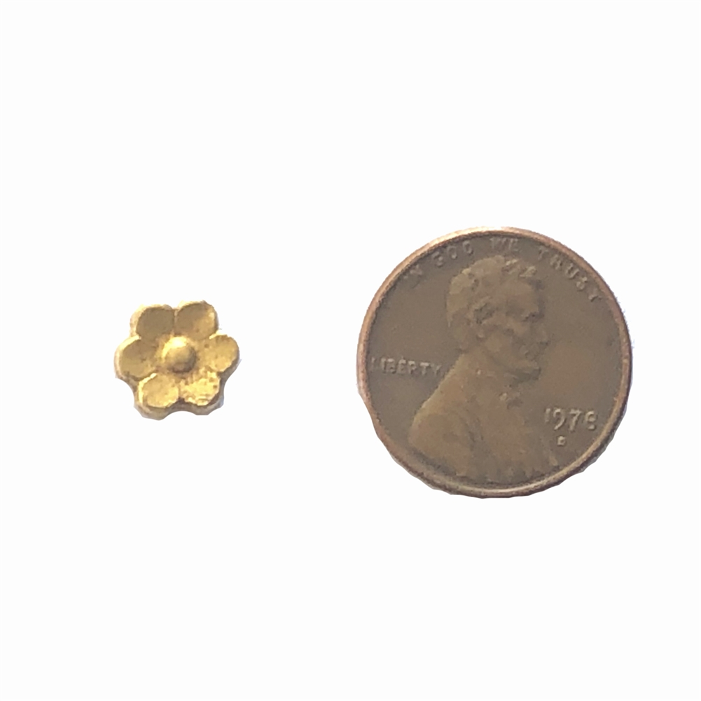 flower stamping, brass flowers, classic gold, 09765, brass jewelry supplies, vintage jewelry supplies, B'sue Boutiques, nickel free, US made, beading supplies, antique gold, heavy gauge brass, 8mm