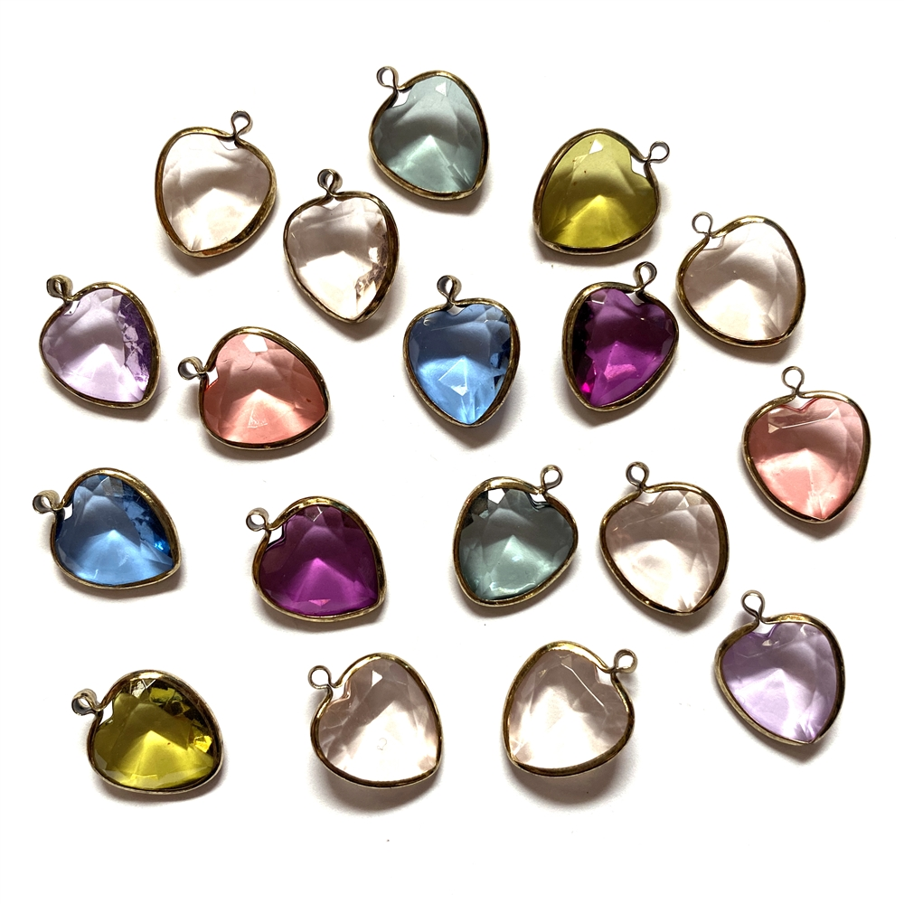 vintage channel hearts, mixed colors, channel drops, wire wrapped channels, assorted channel heart drops, vintage jewelry supplies, jewelry making supplies, silver tone wire wrap, copper tone wire wrap, 17 x 13mm, faceted lstones, channel pendants, 0