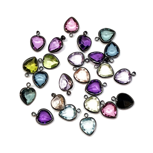 vintage hearts, pendants, charms,mixed colors, channel hearts,  assorted channel heart drops, channel,  vintage jewelry supplies, jewelry making supplies, gunmetal tone wire wrap,  13 x 9mm, facetedstones, channel set, 04767