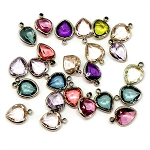 vintage  hearts, mixed colors, channel drops, wire wrapped channels, assorted channel heart drops, vintage jewelry supplies, jewelry making supplies, silver tone wire wrap,  13 x 9mm, faceted  stones, channel pendants, 04769