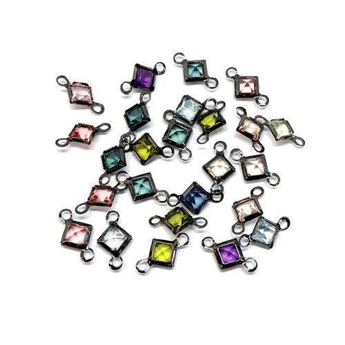 vintage connectors, mixed colors, channel drops, wire wrapped chanels, assorted chanel drops,  vintage jewelry supplies, jewelry making supplies, gunmetal wire wrap, 11 x 7mm, faceted glass stones, channel pendants, 04840