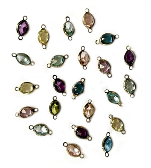 vintage epoxy resin charms, mixed colors, ear drops drops, wire wrapped, assorted oval drops, vintage jewelry supplies, jewelry making supplies, gold tone wire wrap,  14 x 7mm, faceted resin stones, pendants, 04854