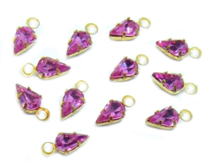 vintage channel charms, crystal rose, channel drops, wrapped channels, vintage supplies, jewelry making, gold tone wire wrap, faceted stones, pendants, charms, glass, 9x4mm, drops, B'sue Boutiques, rose color, glass rose channel, 04966