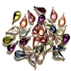 vintage bezel pear drops, mixed colors, 07576, charm drops, epoxy resin bezel drops, tear drops,  vintage jewelry supplies, jewelry making supplies, gunmetal, 16 x 9mm, faceted stones, channel set, pendants