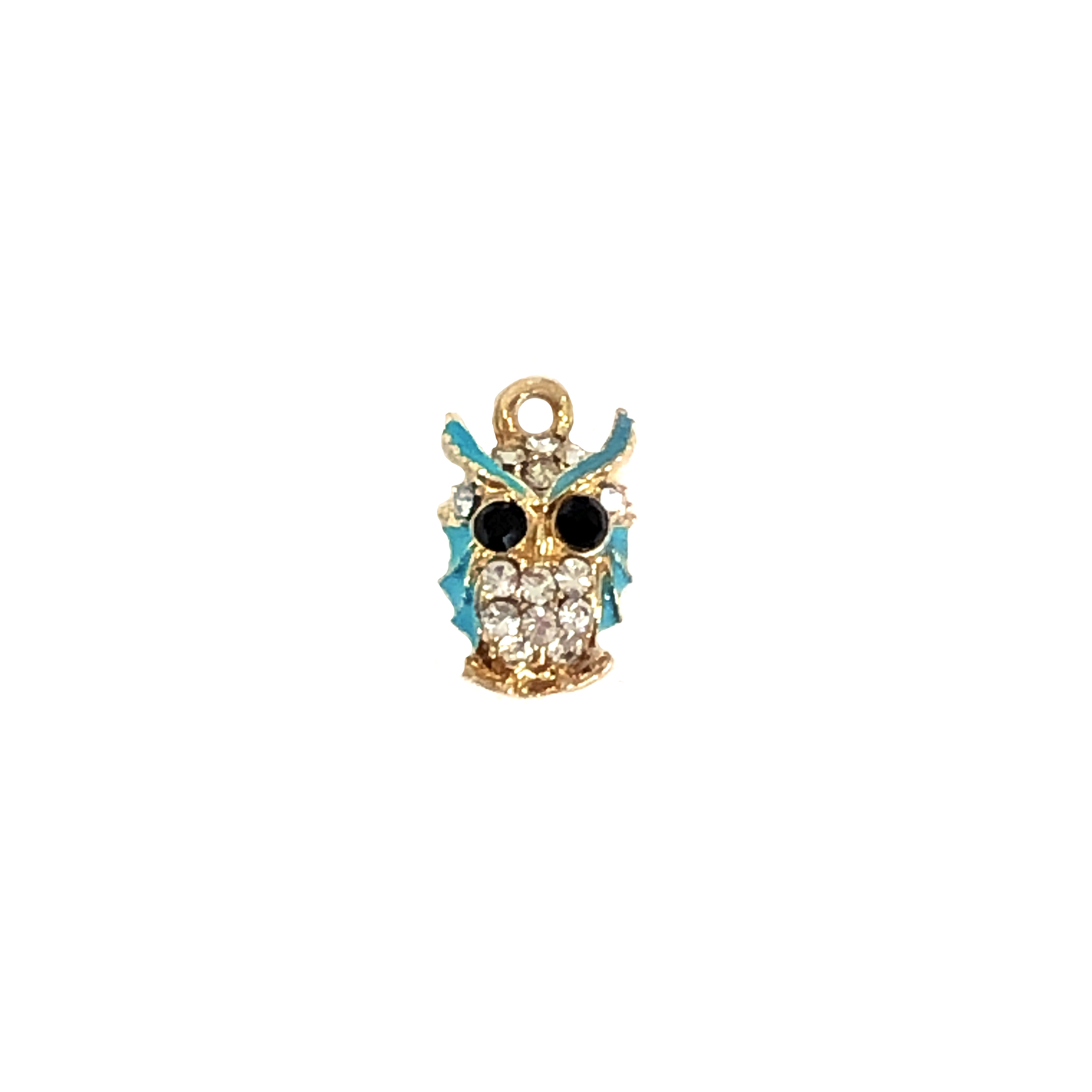 owl charm, bird, gold plated, 01073, 15x9mm, earring findings, owls, enamel charm, enameling, turquoise enamel, rhinestone owl, rhinestone charm, birds, animals