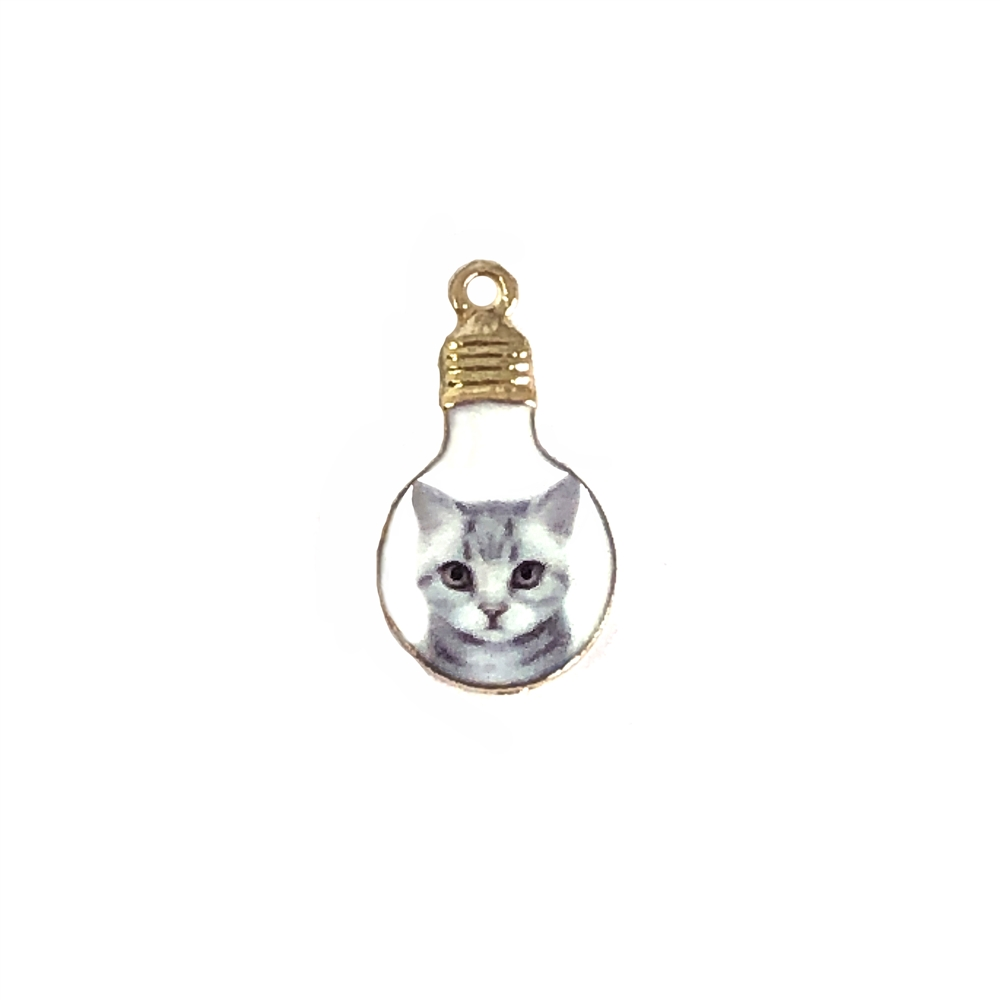 light bulb charm,  enamel charms, gray kitten, kitty, cat, charm, pendant, 22x12mm, B'sue Boutiques, jewelry making, vintage supplies, jewelry supplies, jewelry findings, 01075, grey kitten, kitten portrait, kitty in a bulb, enamel
