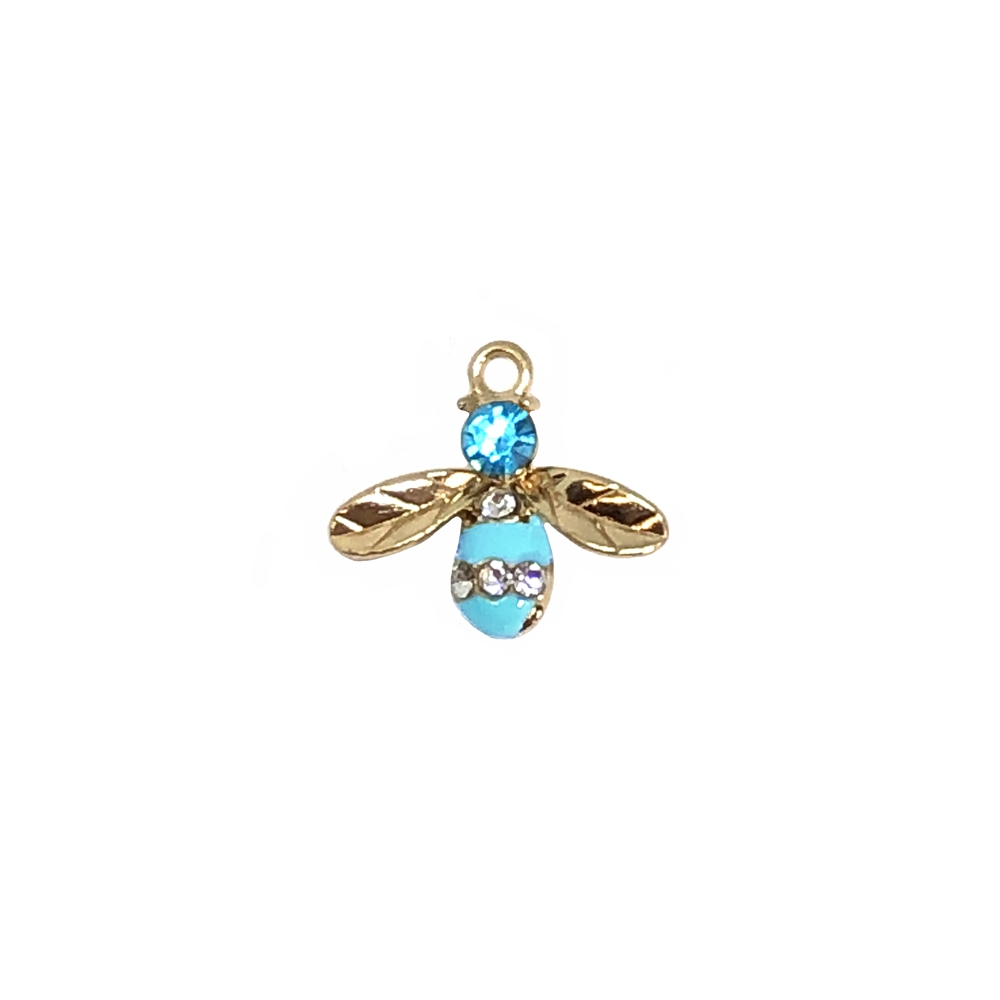 bee charm, gold plated, 17 x 15mm, 01076, insects, charms, bugs, animals, Bsue Boutiques, jewelry supplies, zinc alloy, turquoise enamel, bee, pendant, embellishments