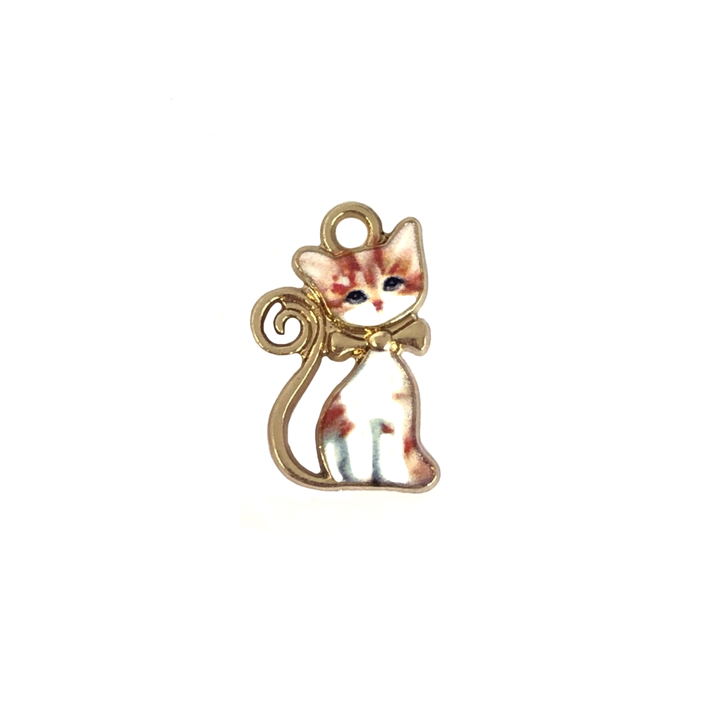kitty charm, sitting orange tabby, kitty, cat, charm, pendant, 21 x 13mm, B'sue Boutiques, jewelry making, vintage supplies, jewelry supplies, jewelry findings, 01078, white enamel, gold plate, sitting kitty, tabby cat