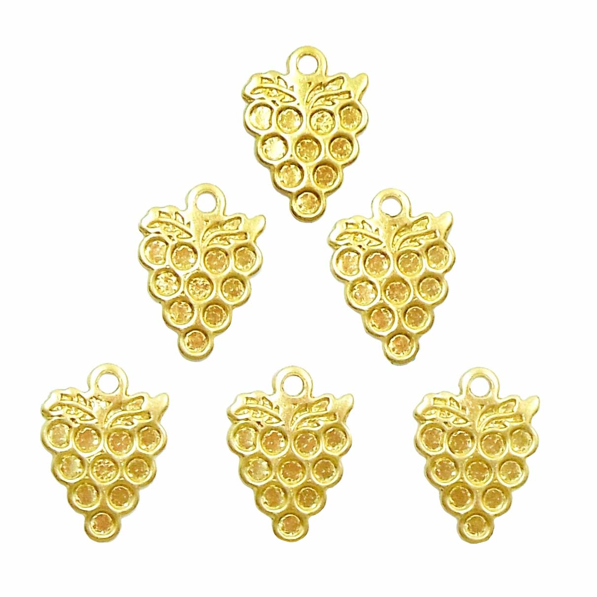 brass charms, grape charms, jewelry making, 12x9mm, grape cluster