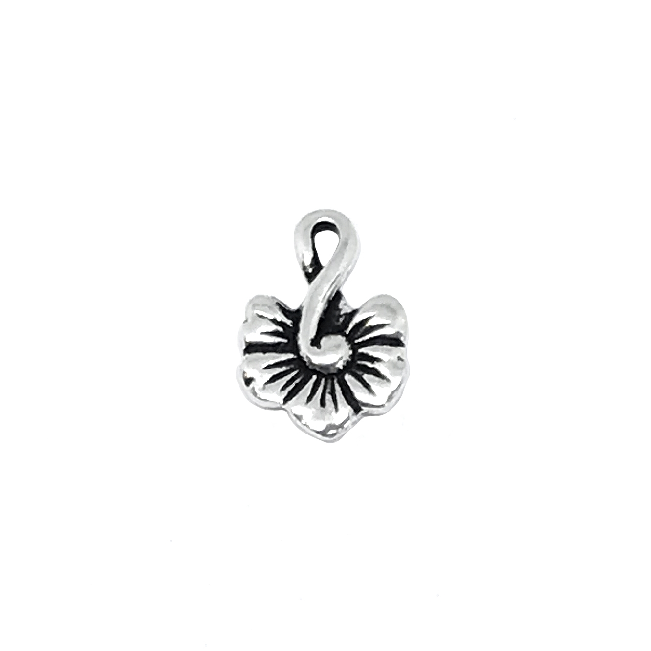 Flower Blossom Charm, Antique Silver, Ear Drop, 01164, flower charm, black antiquing, flower jewelry,  jewelry making supplies, vintage jewelry supplies, 12x16mm, charms