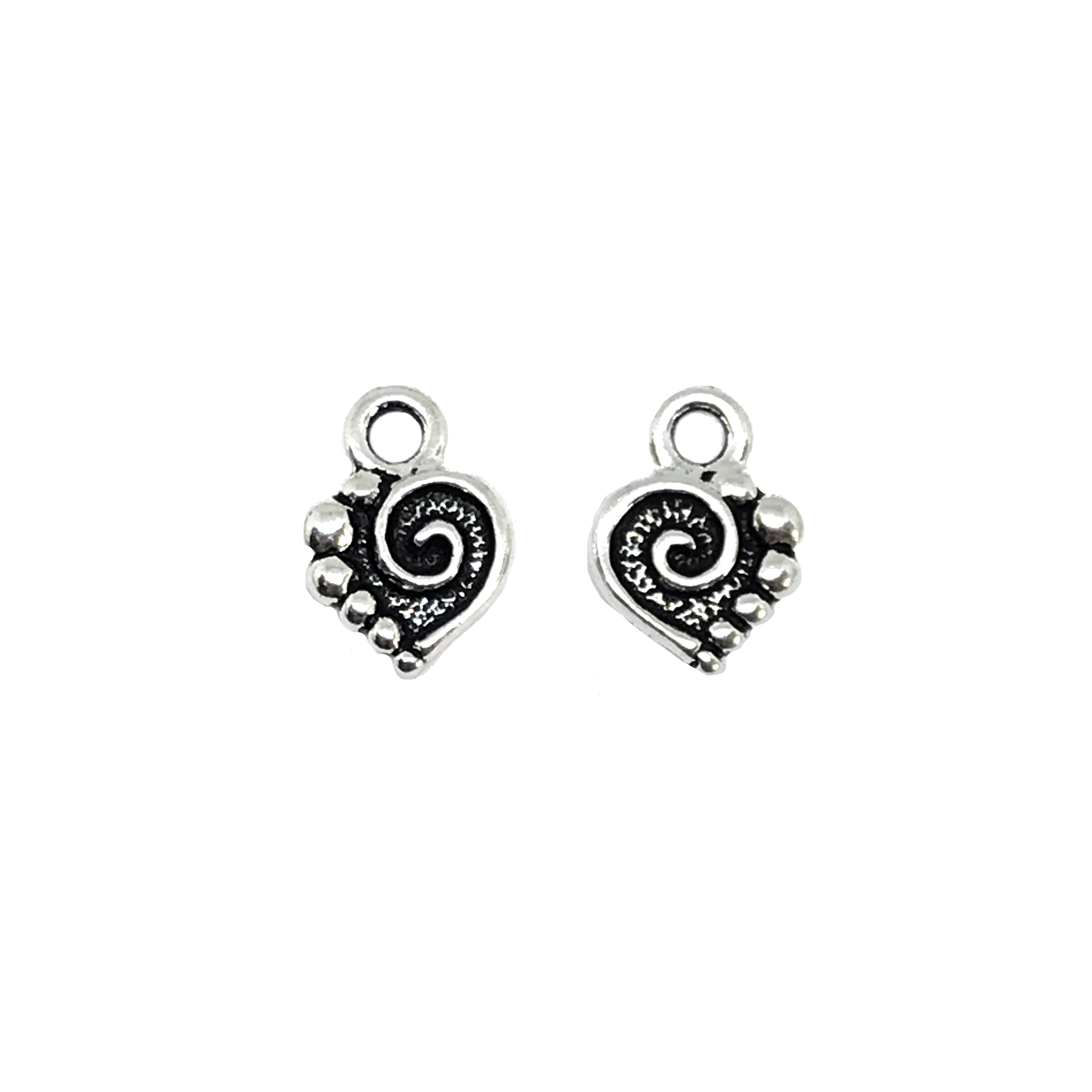 Spiral Heart Charm, Antique Silver, Ear Drop, 01171, heart charm, black antiquing, heart jewelry,  jewelry making supplies, vintage jewelry supplies, 10x13mm, charms, earrings