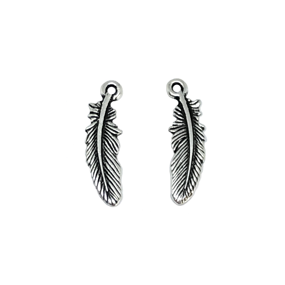 silver feather charms, antique silver, 01172, black detailing, feather stamping, jewelry making supplies, vintage jewelry supplies, US Made, b'sue boutiques, 23x6mm, double-sided, silver charm, southwest jewelry