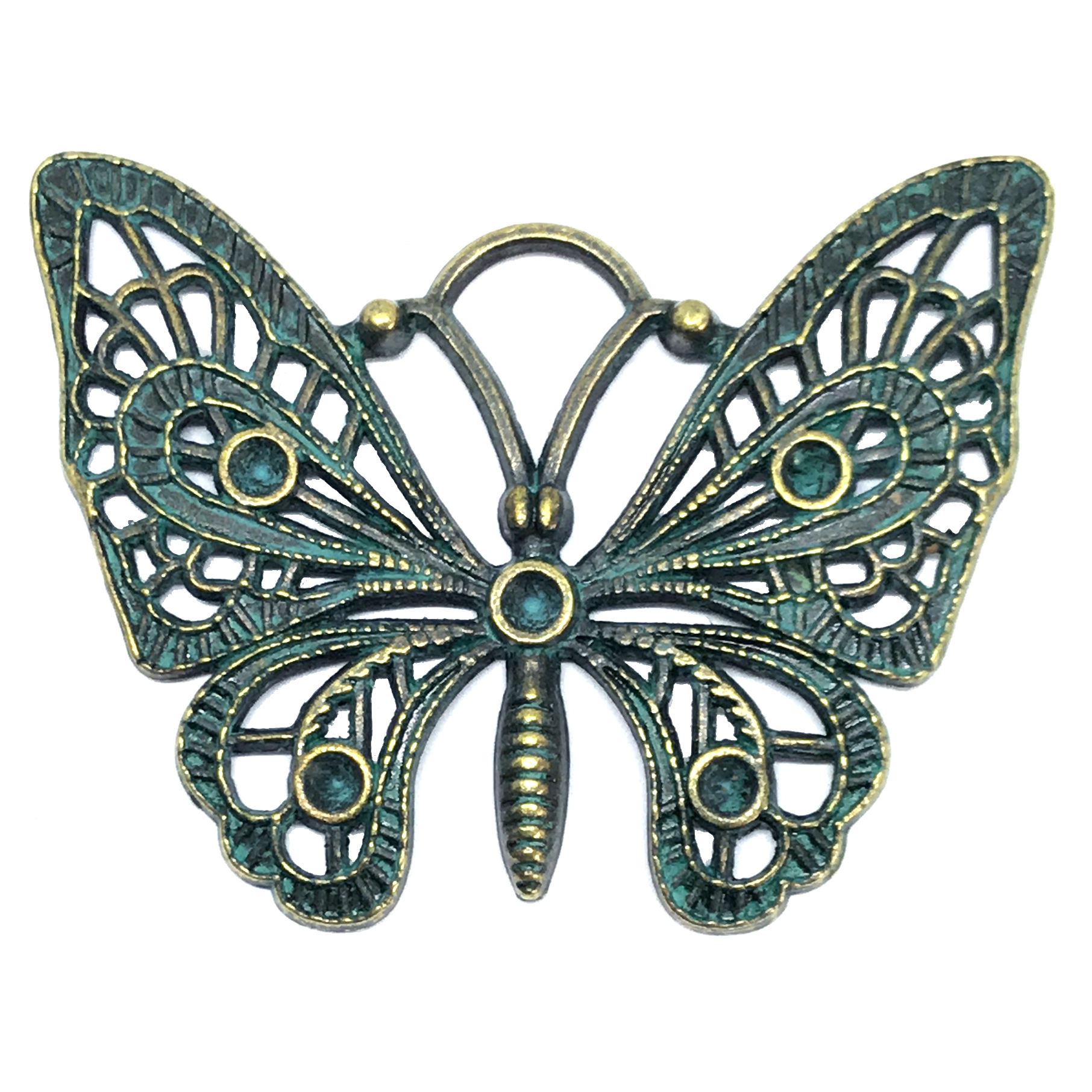 filigree butterfly, bronze, aqua patina, bugs, 36 x 48mm, butterfly jewelry, jewelry making, vintage supplies, jewelry supplies, jewelry findings, B'sue Boutiques, animal, stamping, animal stamping, 01208, pendant, insects