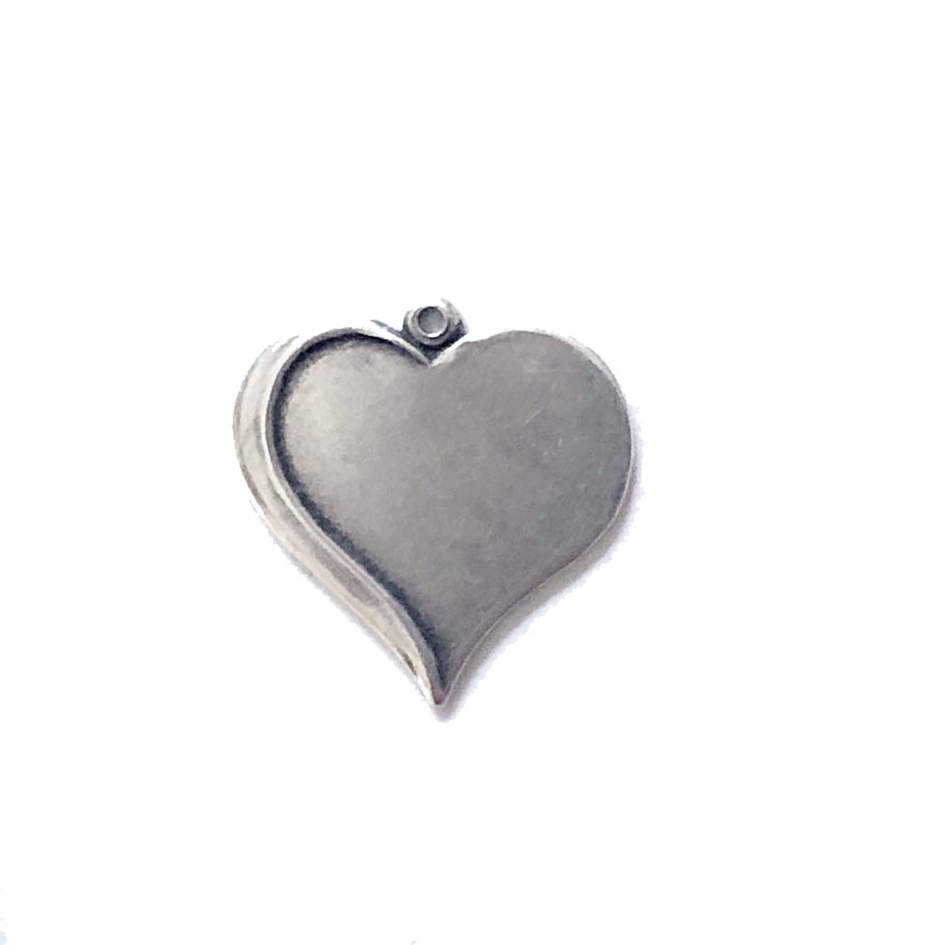 brass jewelry base, heart base, silverware silverplate, 0137, drilled base, B'sue Boutiques, nickel free jewelry, US made jewelry, vintage jewellery supplies, jewelry making supplies, antique silver, brass charms, heart jewelry blanks