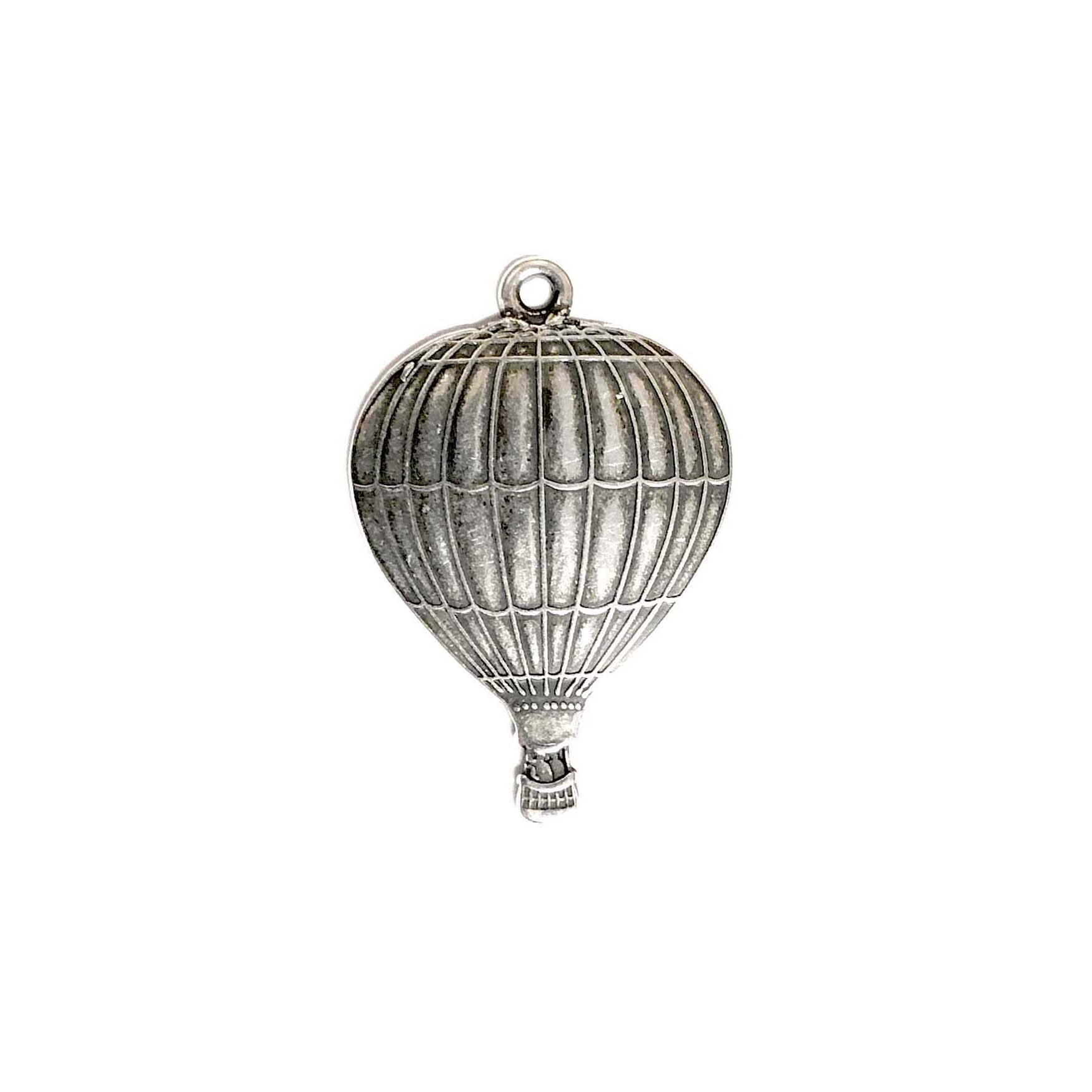 Hot Air Balloon Charms, Silverware, Steampunk, brass charms,brass stamping, silver plate, nickel free, USA Made, brass dirigible, antique silver, black antiquing, brass jewelry parts, vintage jewelry supplies, jewelry making supplies, 01382