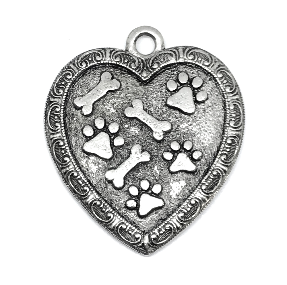 1928 Jewelry, old silver paw print heart pendant, old silver, pet necklace, dog jewelry, animal style jewelry, cast pewter, puppy, B'sue Boutiques, paw print pendant, 1928 Jewelry Company, B'sue by 1928, dog pendant, dog, 01415