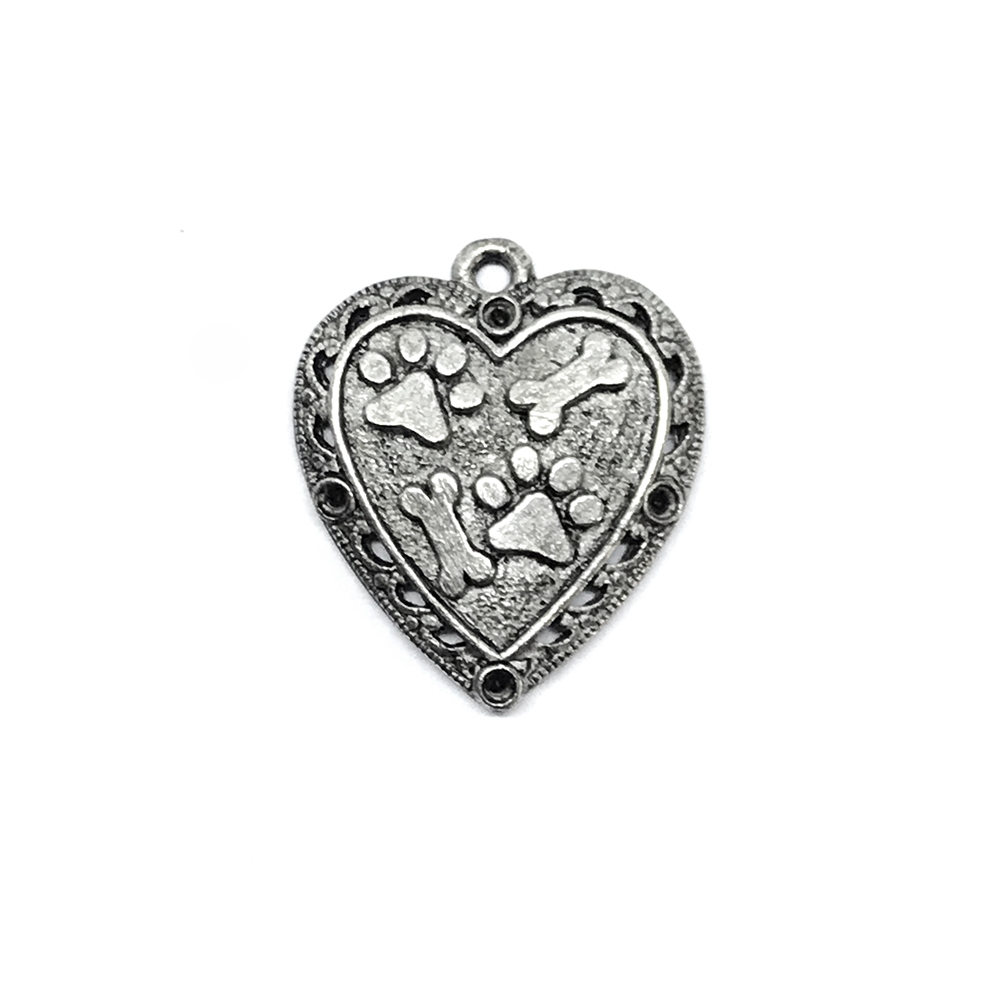 1928 Jewelry, old silver paw print heart pendant, old silver, pet necklace, dog jewelry, animal style jewelry, cast pewter, puppy, B'sue Boutiques, paw print pendant, 1928 Jewelry Company, B'sue by 1928, dog pendant, dog, 01415, heart charm