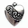brass hearts, heart charms, silver plate, 0140, silverware silverplate,antique silver, vintage jewelry supplies, brass jewelry parts, US made, nickel free jewelry supplies, b'sue boutiques
