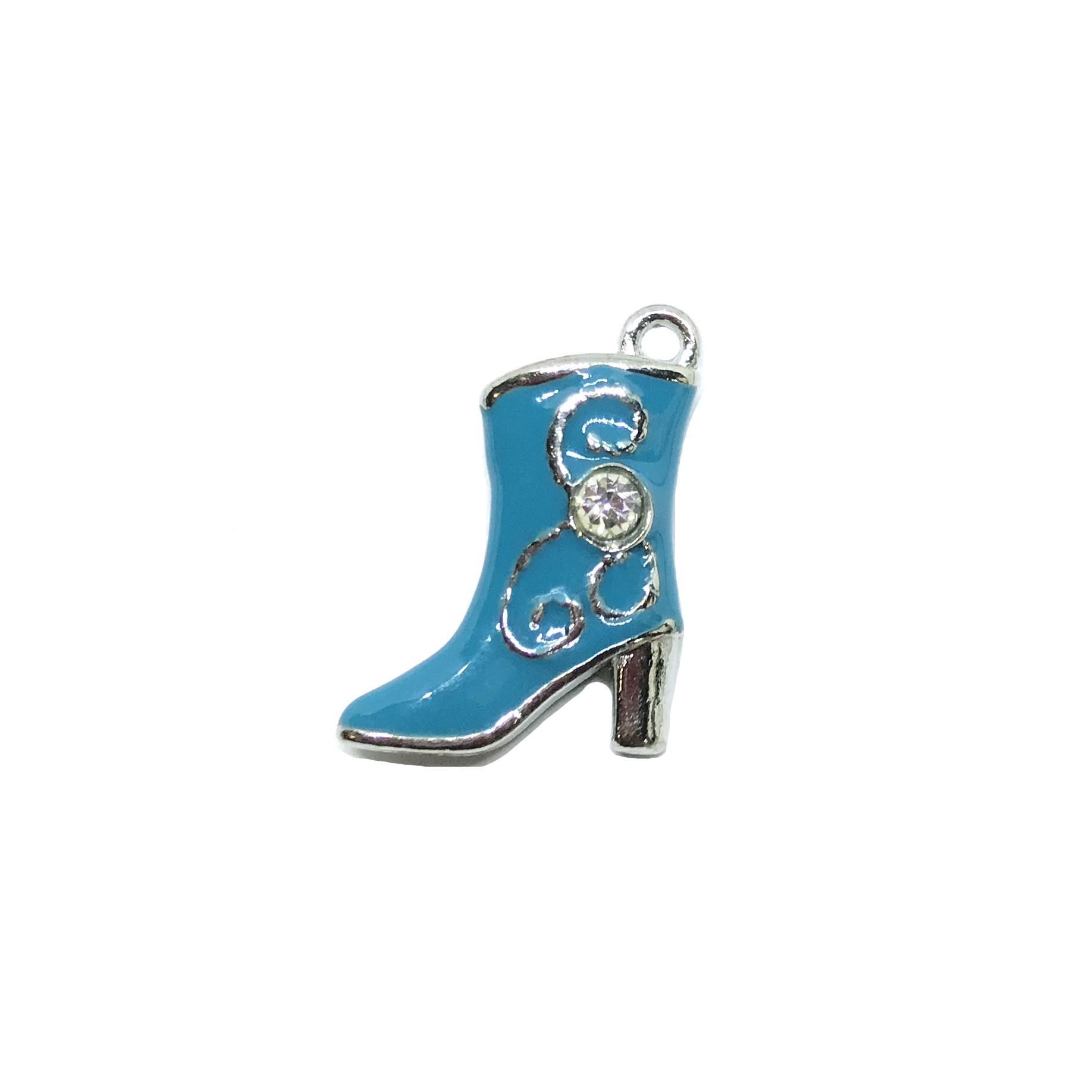 cowboy boot, turquoise boot charm, 01543, boots, charms, silver, silver charms, silver-tone, double-sided, puffy charm, 3-D, B'sue Boutiques, design embellishment, boot, blue, turquoise