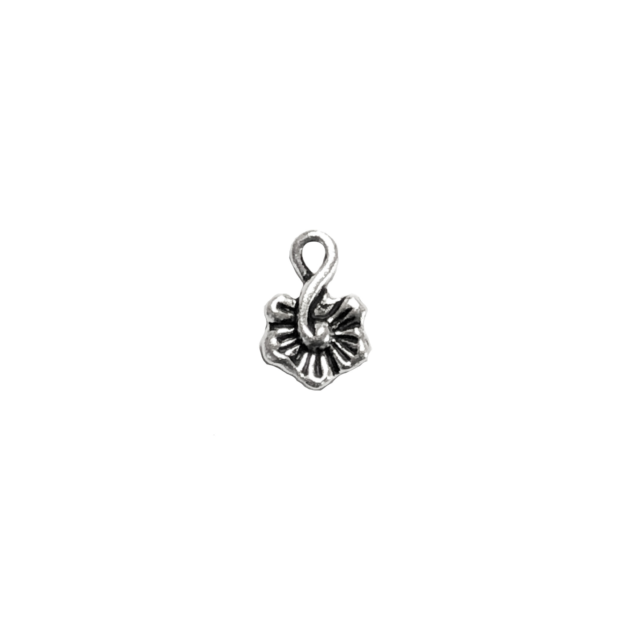 Small Blossom Charm, Antique Silver, Ear Drop, 016, flower charm, black antiquing, flower jewelry,  jewelry making supplies, vintage jewelry supplies, 8x12mm