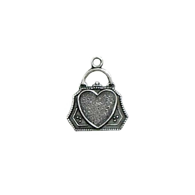 Little Purse Charm with Heart, Silverplate, silverware, heart, brass stamping, charms, vintage style, heavy brass, USA made, purse