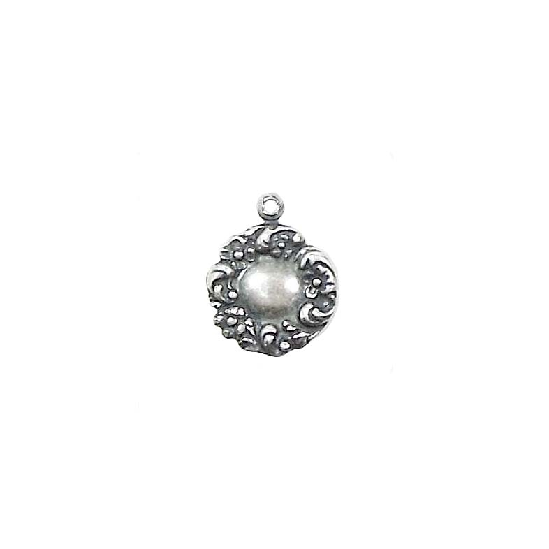 Charm, Closed Wreath Style, Silverware Silverplate, 12 x 13mm, brass, USA made, charm accents, pendent, wreath