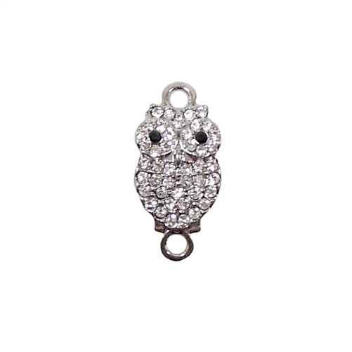 Owl Charm, Imitation Crystal Rhinestones, Owl Connector, Double Loop,Imitation Rhodium Base, 21 x 10 with Loops