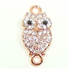 Owl Charm, Imitation Crystal Rhinestones, Owl Connector, Double Loop, Rose Gold, 21 x 10 with Loops