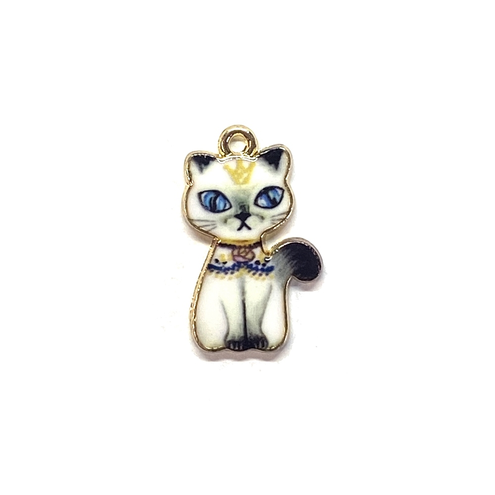 kitty charm, cat charm, kitty, cat, charm, pendant, 23 x 14mm, B'sue Boutiques, jewelry making, vintage supplies, jewelry supplies, jewelry findings, 01759, enamel, sitting pretty, kitty with a crown